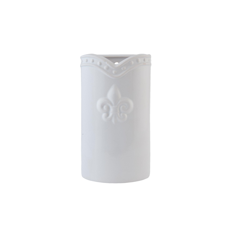 Clayre & Eef 6CE0585W Kerámia párologtató 9x4x16cm,fehér,liliomos