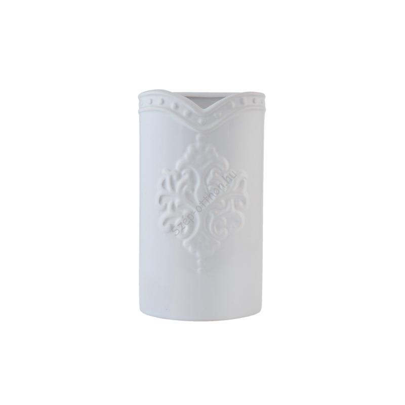 Clayre & Eef 6CE0586W Kerámia párologtató 9x4x16cm,fehér domború mintával