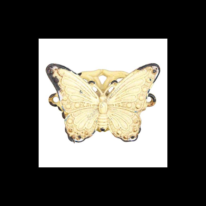 Clayre & Eef 63623 Ajtófogantyú fém 5x4cm, pillangó antikolt sárga