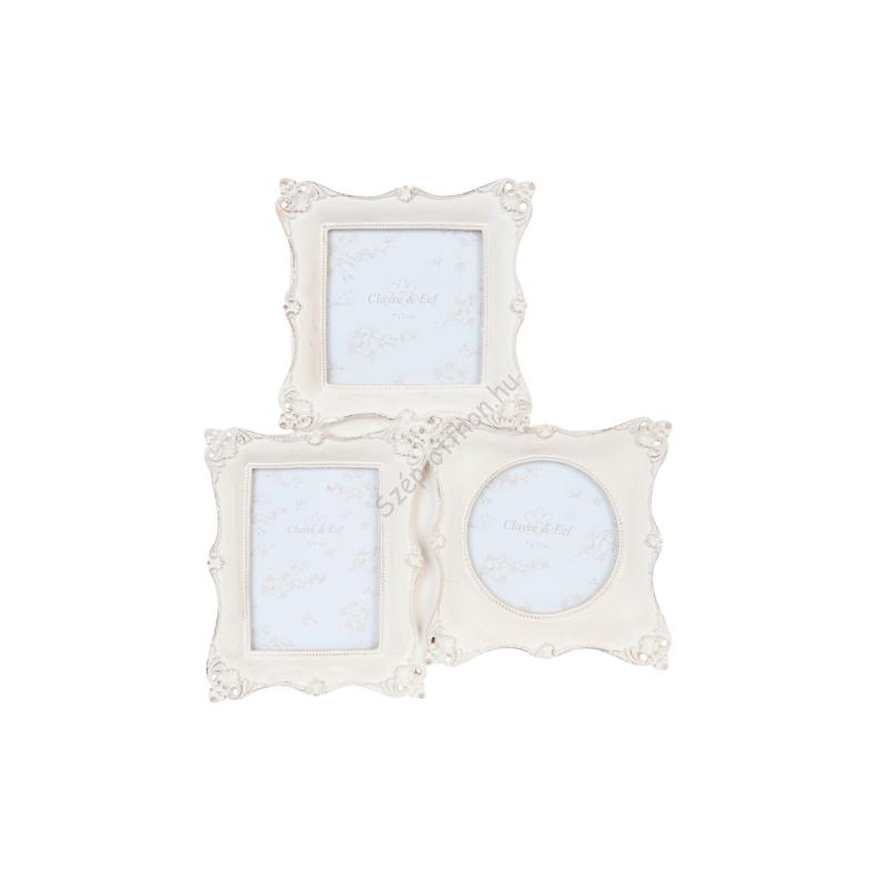 Clayre & Eef 2F0377 Képkeret műanyag 3 részes 20x23cm,krém