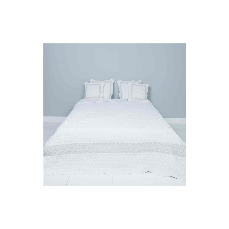 Clayre & Eef Q172.061 Steppelt ágytakaró 230x260cm, fehér csipke rózsás