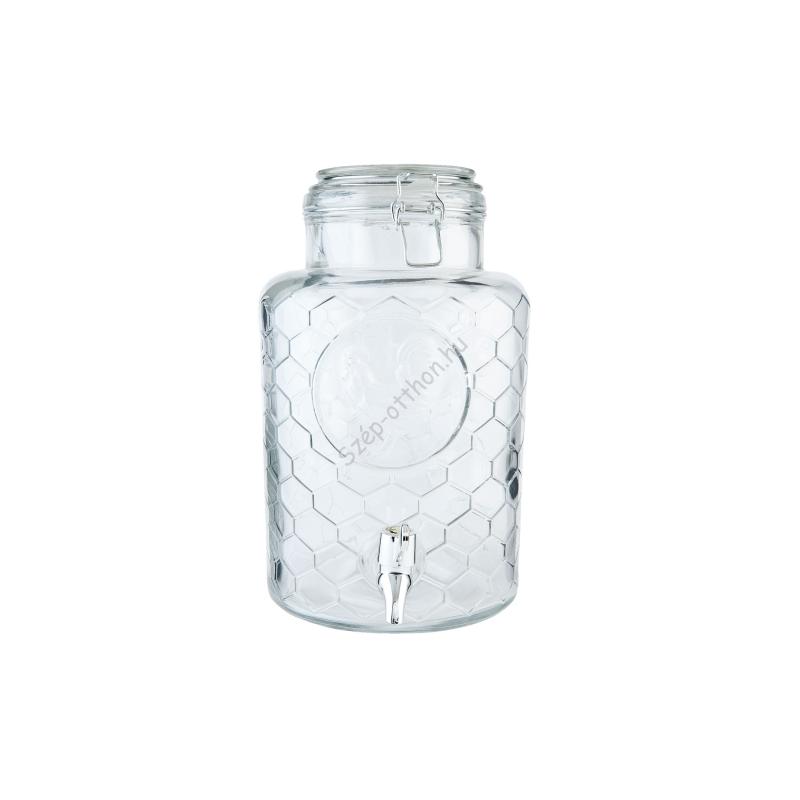 Clayre & Eef 6GL1928 Üveg limonádé csapoló 5,3l ,rácsos mintázatú,kakasos