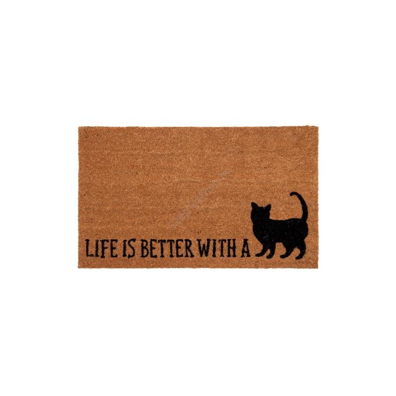 """Clayre & Eef CALMC Lábtörlő 75x45cm, macskás """"Life is better with a Cat"""""""