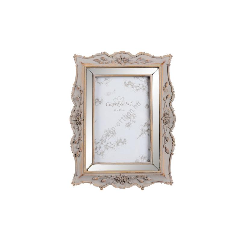 Clayre & Eef 2F0453 Képkeret 18x2x23cm,műanyag,körbe tükör,rózsás szél