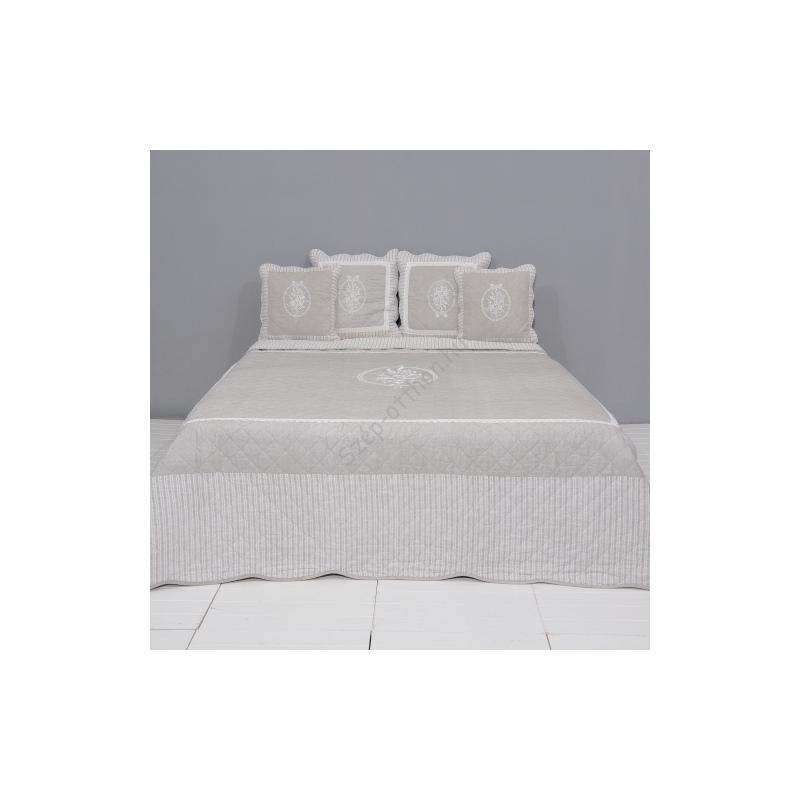 Clayre & Eef Q179.060 Steppelt ágytakaró 180x260cm drapp,fehér rózsa hímzéssel