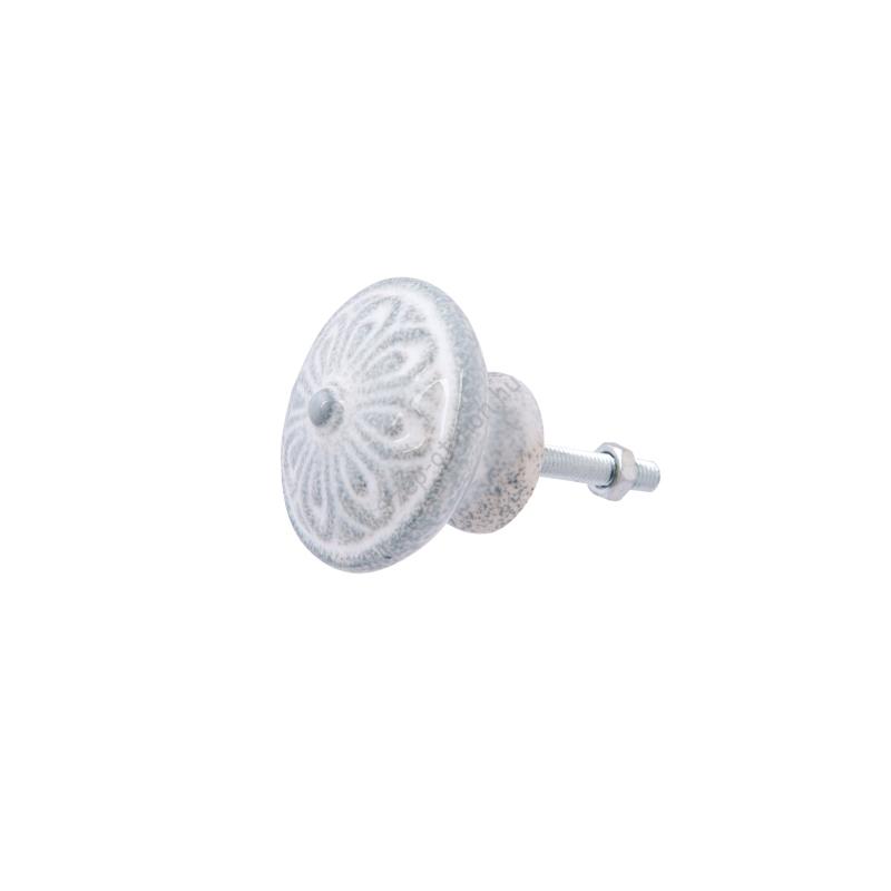 Clayre & Eef 63813 Porcelán ajtógom szürke-fehér antikolással,virág mintázatú,4x3cm