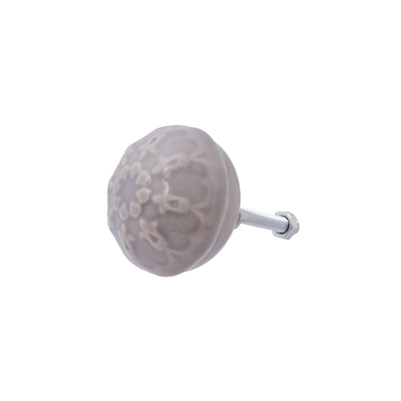 Clayre & Eef 63818 Porcelán ajtógomb szürke tulipán dombor mintával,4x4cm
