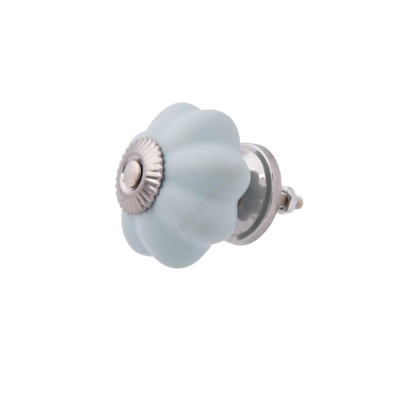 CLEEF.63804 Ajtófogantyú porcelán 4x3cm,kék bordázott ezüst rátéttel