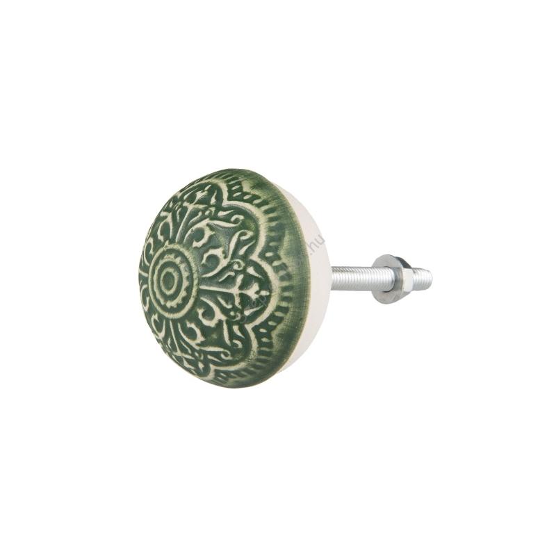 CLEEF.63873 Kerámia ajtógomb zöld, domború mintázattal, 4x3cm