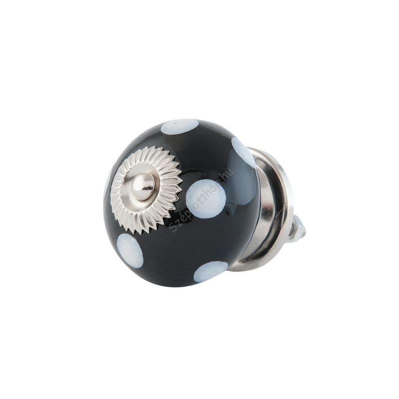 Clayre & Eef 63495 Ajtófogantyú 4cm, gömb,fekete fehér pöttyökkel ezüst rátéttel