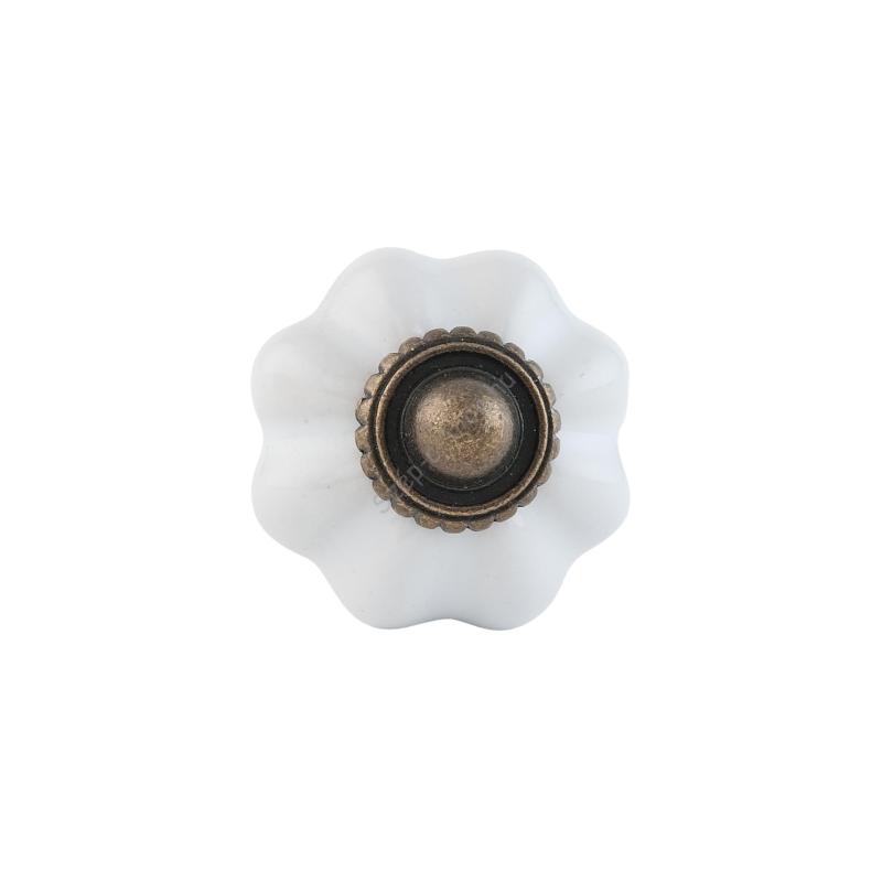 CLEEF.63503 Ajtófogantyú porcelán 3cm,bordázott fehér
