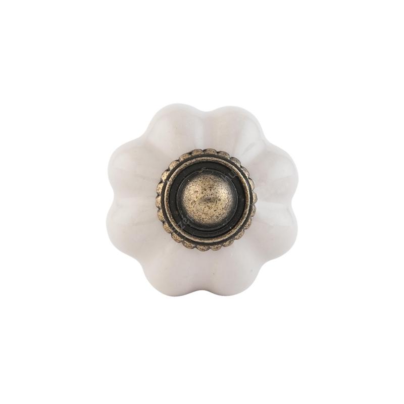 CLEEF.63506 Ajtófogantyú porcelán 3 cm,bordázott fehér