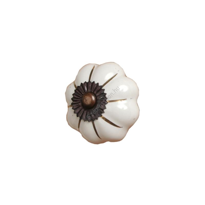 Clayre & Eef 60058 Ajtófogantyú 5x7,5cm,fehér,arany csíkkal